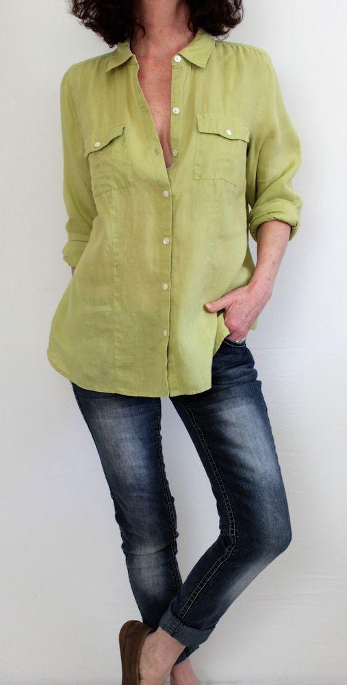 06e7b5bc7 J Jill Love Linen 100% Linen L Sleeve Button Down Shirt Green Sz M #JJill  #ButtonDownShirt