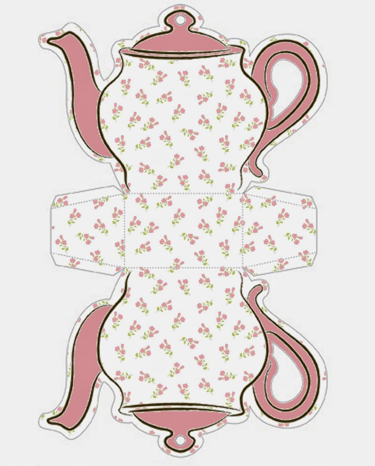 image regarding Teapot Template Printable identified as No cost Printable Teapot Present Box Templates Tea Celebration Paper