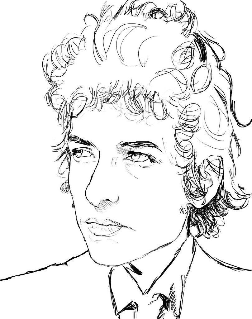 Bob Dylan Coloring Pages 0utline Shapes Bob Dylan