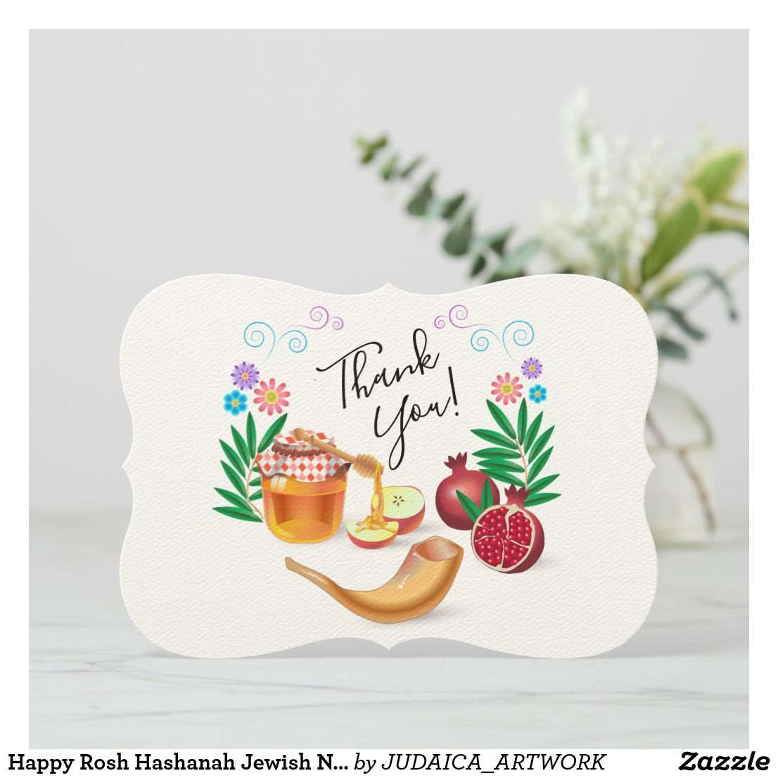 Happy Rosh Hashanah Jewish New Year Honey & Apple Thank You Card | Zazzle.com #happyroshhashanah