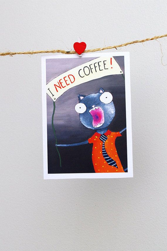 Cat And Coffee CARD Funny Hipster Greeting Card For Boyfriend