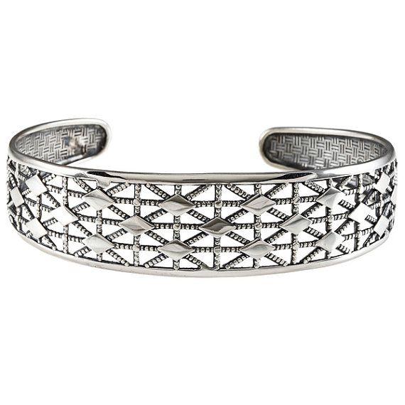 Uni Filigree Cuff Bracelet Diamond Pattern Silver