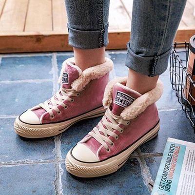 schoenen voor goedkoop sneakers voor goedkoop op voorraad Platform Warm Canvas Lace-up Suede Shoes | Boots | Winter ...