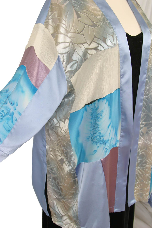 cd145a22fc1 Dressy Kimono Jacket Artwear Rose Silver Turquoise Size 26 28