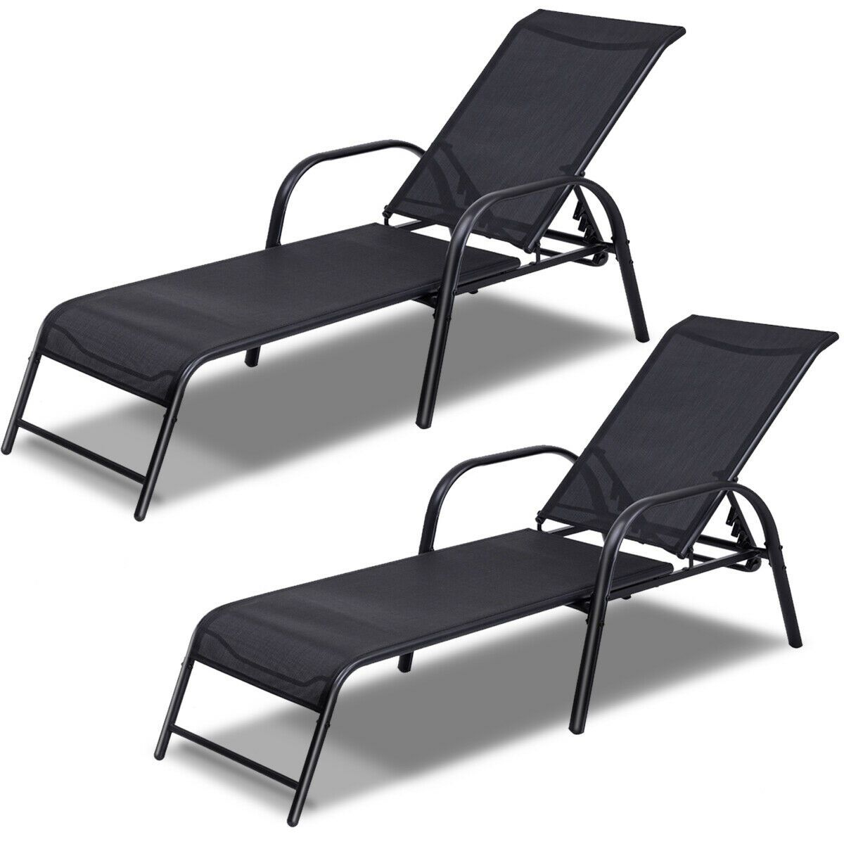 2pcs Lounge Chair Outdoor Pool Patio Chaise Chair Metal Frame Adjustable Back Ebay In 2020 Outdoor Chaise Lounge Chair Lounge Chair Outdoor Patio Lounge Chairs