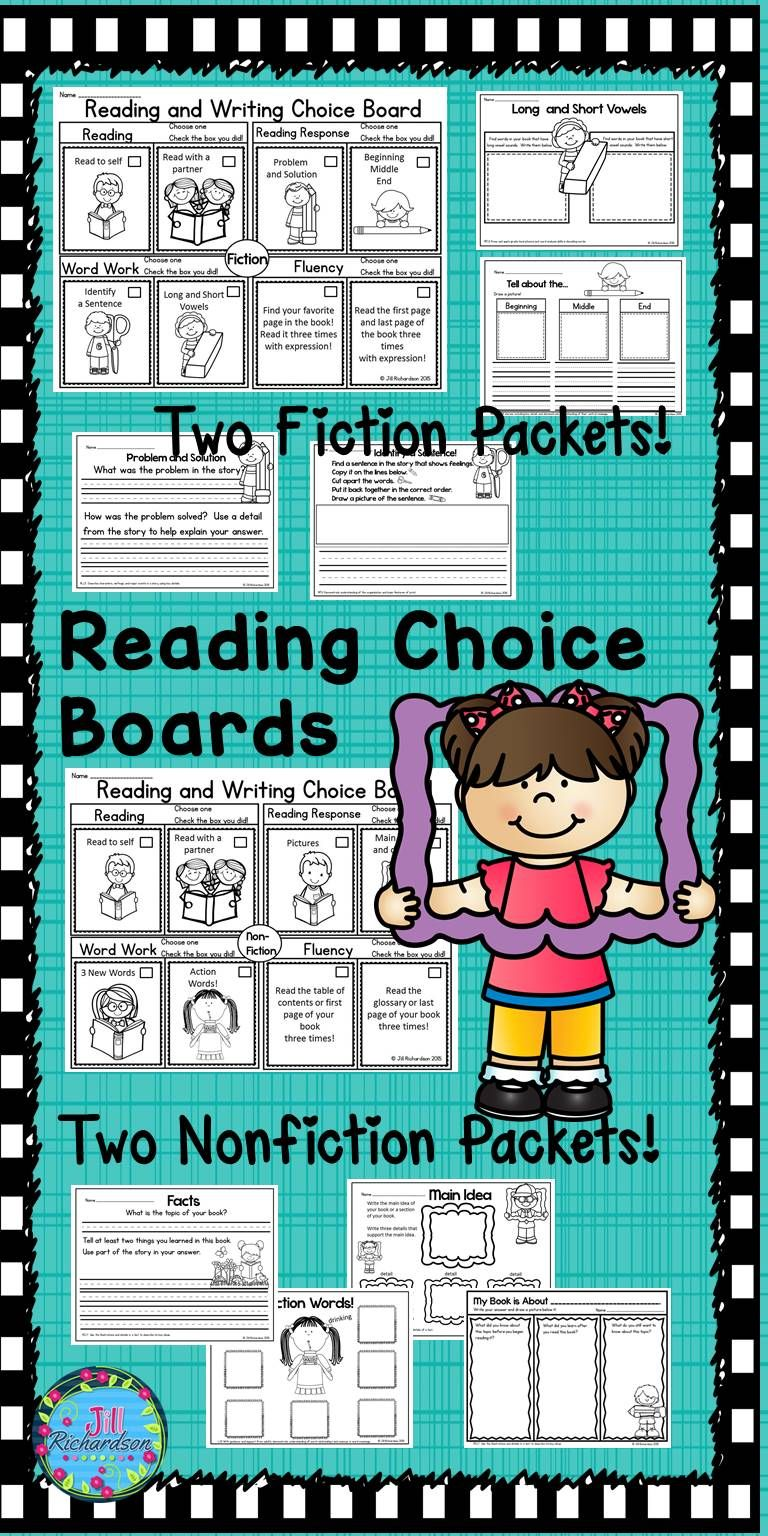 Reading Choice Board! Research shows that children need choice in what they read and write! This packet includes four choice boards with common core aligned activities for first grade. Use with any book! Two Fiction Two Nonfiction Includes: Problem and Solution Beginning, Middle, and End Identify a Sentence Long and Short Vowels The Title Character's Name Syllables Capital Letters Pictures Main Idea and Details 3 New Words Action Words Facts My Book is About... Find the Nouns Hunt for…