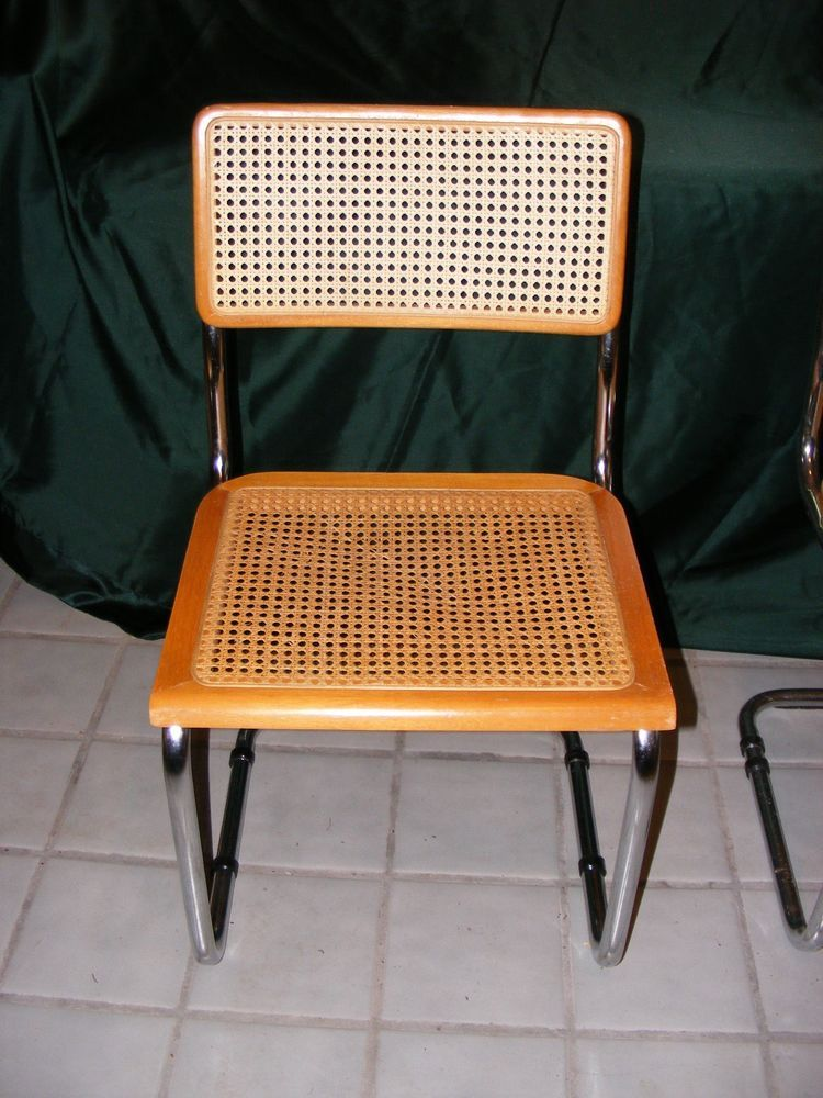 Single Breuer Dining Chair Woven Cane Wicker Metal Frame