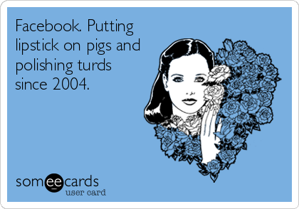 Facebook. Putting lipstick on pigs and polishing turds since 2004.