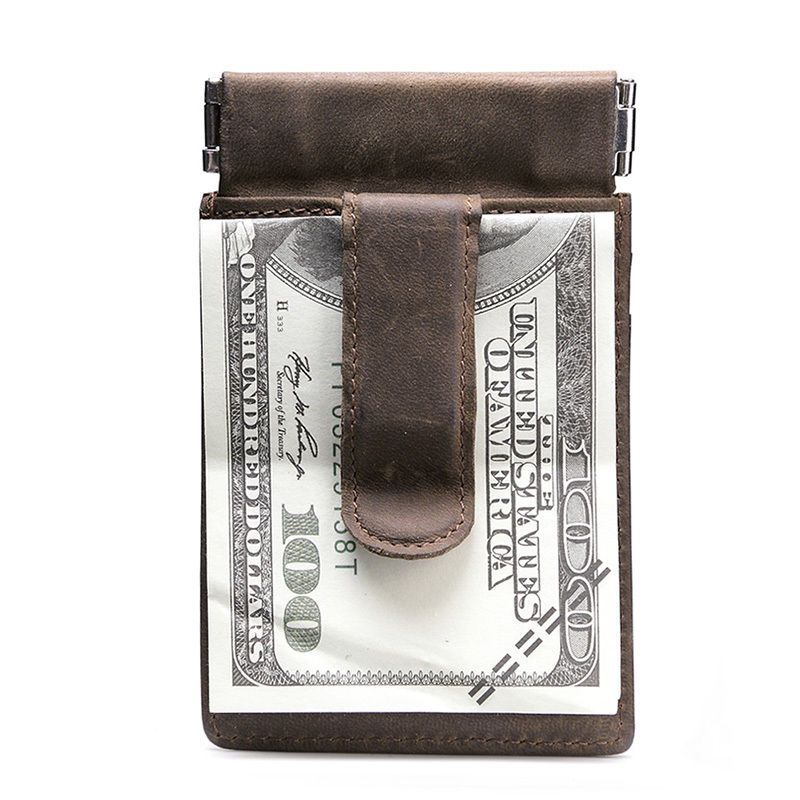 Mens Crazy Horse Leder Geldklammer Card Case Top Frühlings Münzen