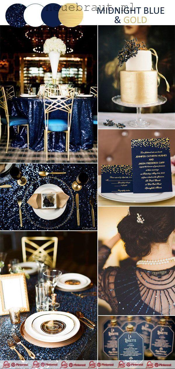 Fantasy Mitternachtsblau Und Gold Vintage Hochzeit Inspiration 2019