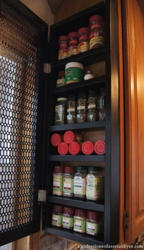Remodelaholic How To Build A Space Saving Spice Cabinet Cabinet Spice Rack Clever Kitchen Storage Under Cabinet Storage