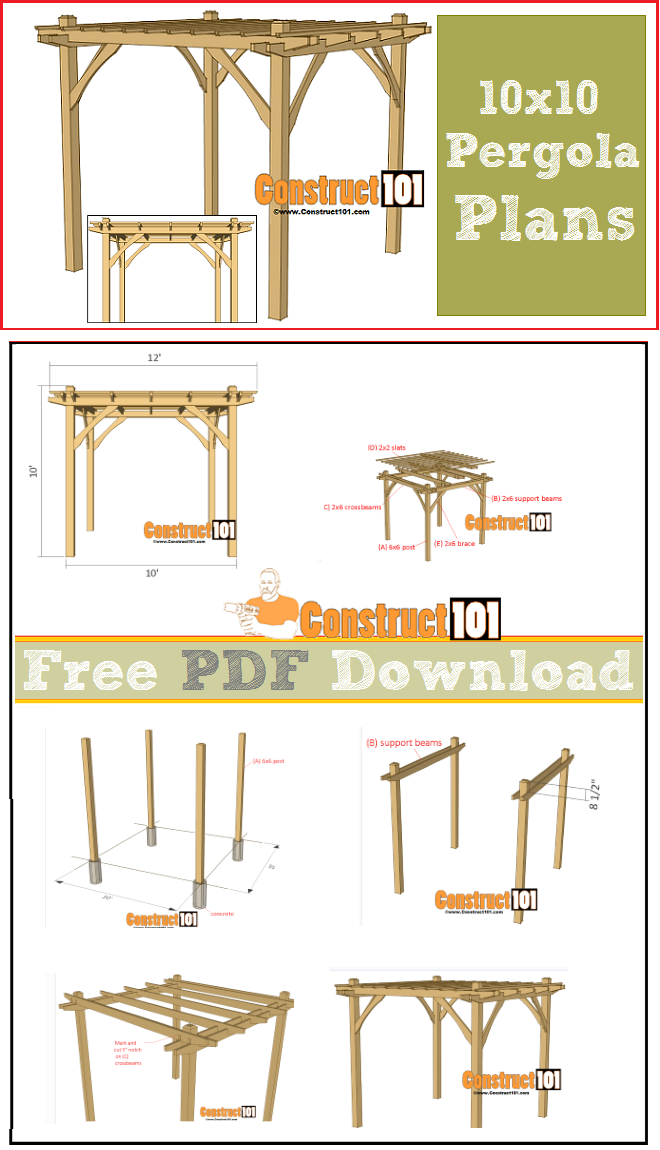 10x10 Pergola Plans Pdf Download Woodworking And Diy