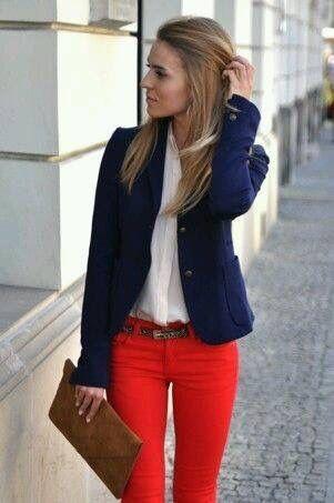 Rojo y azul marino | Pantalon rojo mujer, Moda y Pantalones