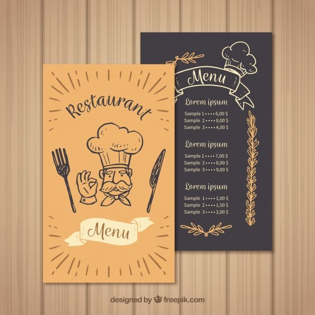 Restaurant menu template with chef Free Vector My freepik - sample menu template