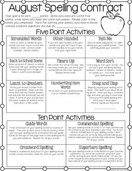 spelling contracts for the entire year i love teaching spelling activities 4th grade. Black Bedroom Furniture Sets. Home Design Ideas