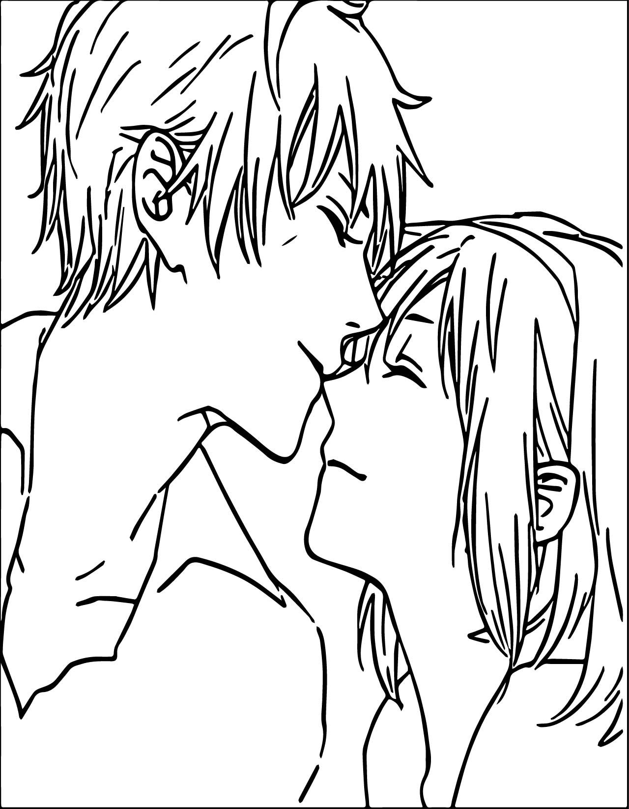 Awesome Anime Boy And Girl Couple Love Coloring Page Love