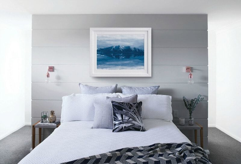 Light Grey Timber Panel Feature Wall In Master Bedroom With Tropical Black And White Bedding Winter Mi Feature Wall Bedroom Bedroom Paint Colors White Paneling