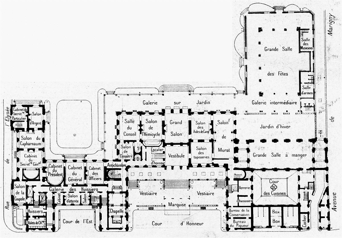 Palais de lélysée plan du rez de chaussée circa 1900