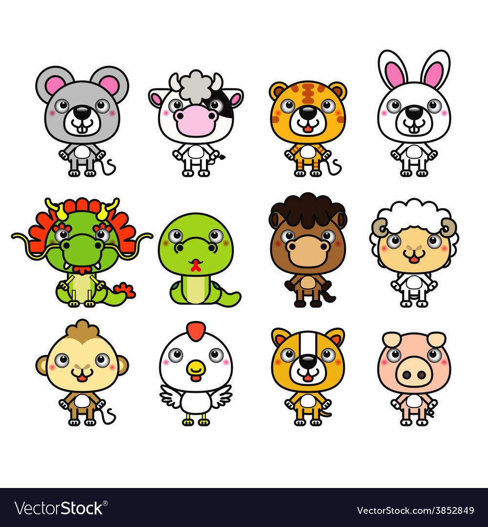12 Chinese Zodiac cartoon animal vector image on 띠