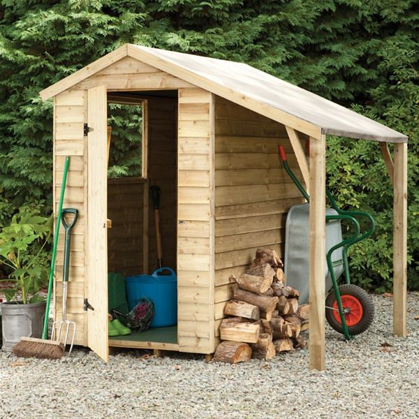 forest garden 6 x 4 treated overlap apex garden shed with lean to - Garden Sheds 6x4