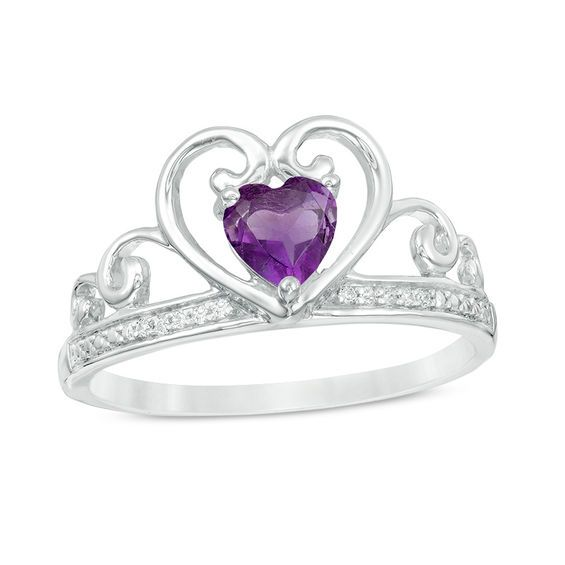 Zales 5.0mm Heart-Shaped Lab-Created Opal, Amethyst and Diamond Accent Ring in Sterling Silver