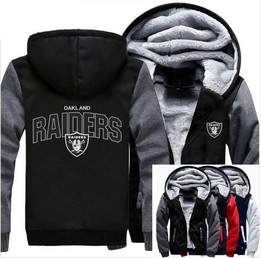 Winter Thicken Hoodie Team Oakland Raiders Warm Sweatshirt Lacer Zipper Jacket*