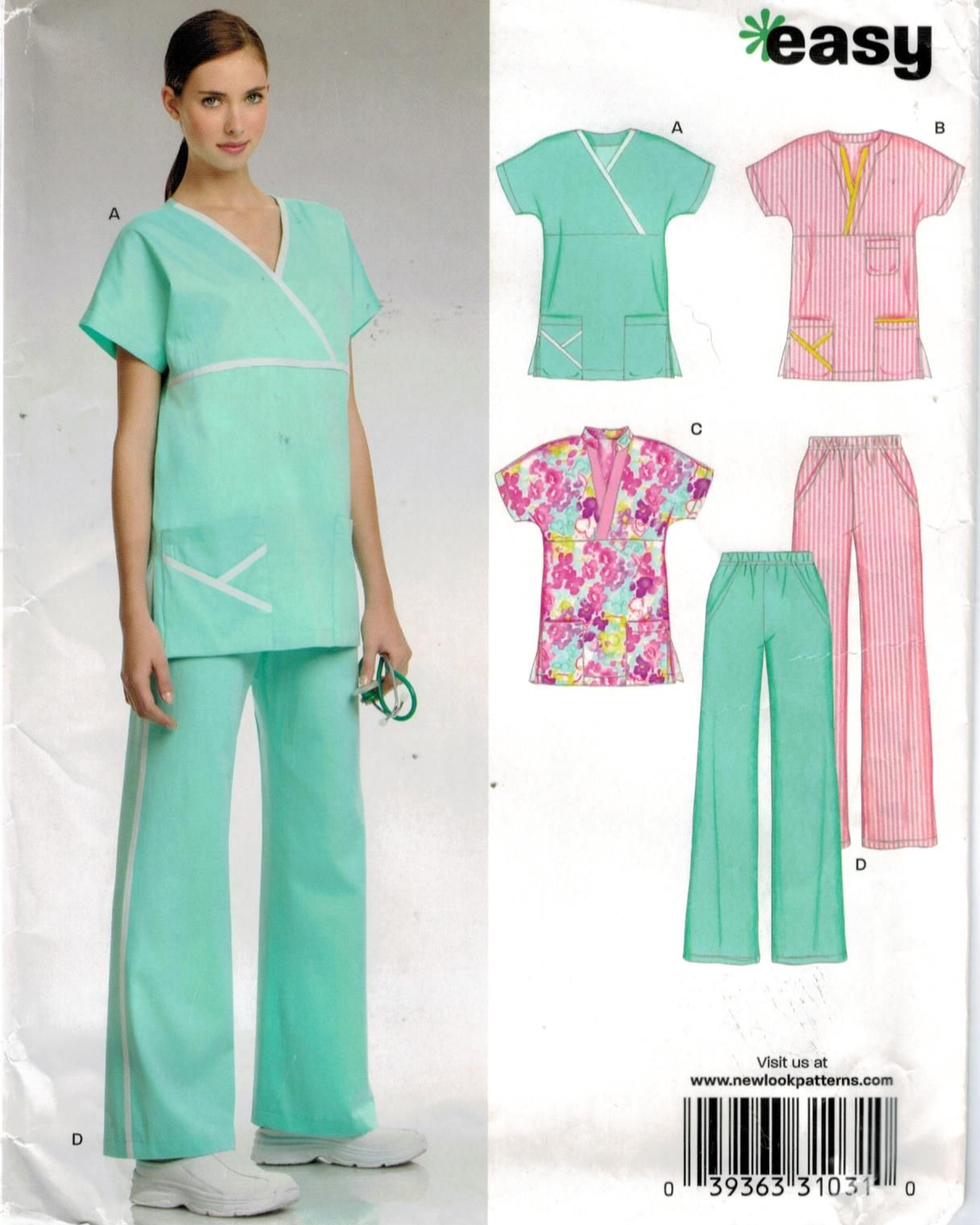 New Look Pattern 6739 Nurses Scrubs Uniform Sizes 8 through 18 ...