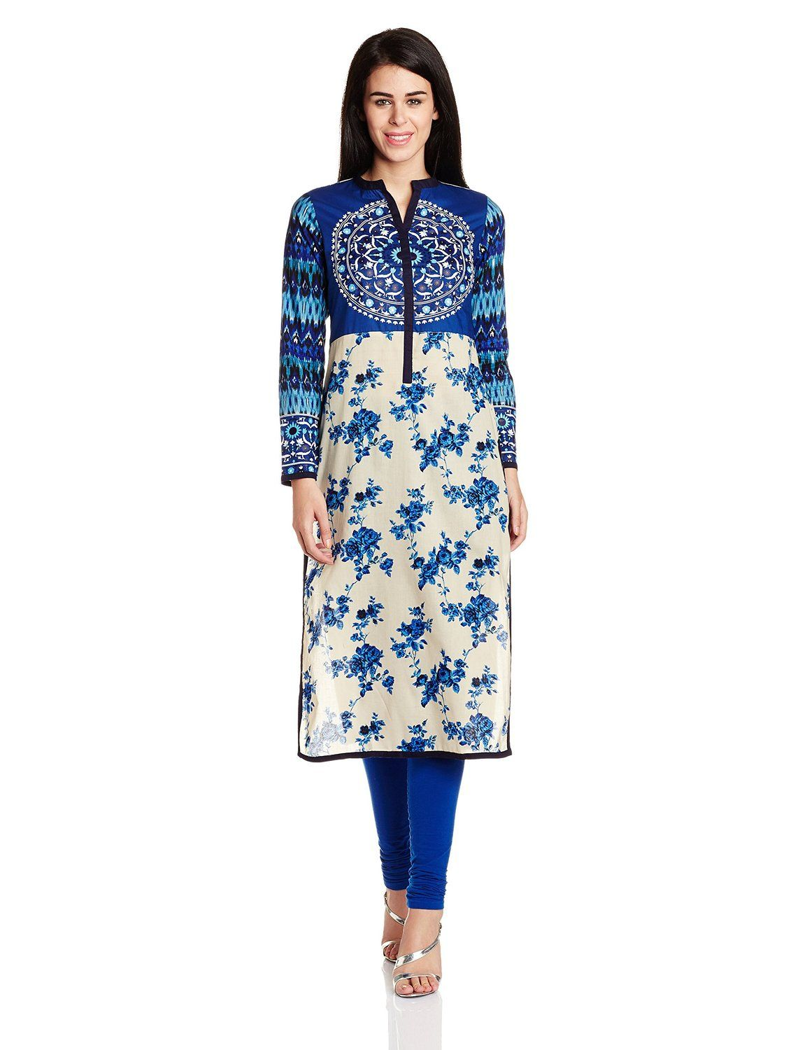 Cream Blue Floral Printed Straight Kurti Match It With A Pair Of