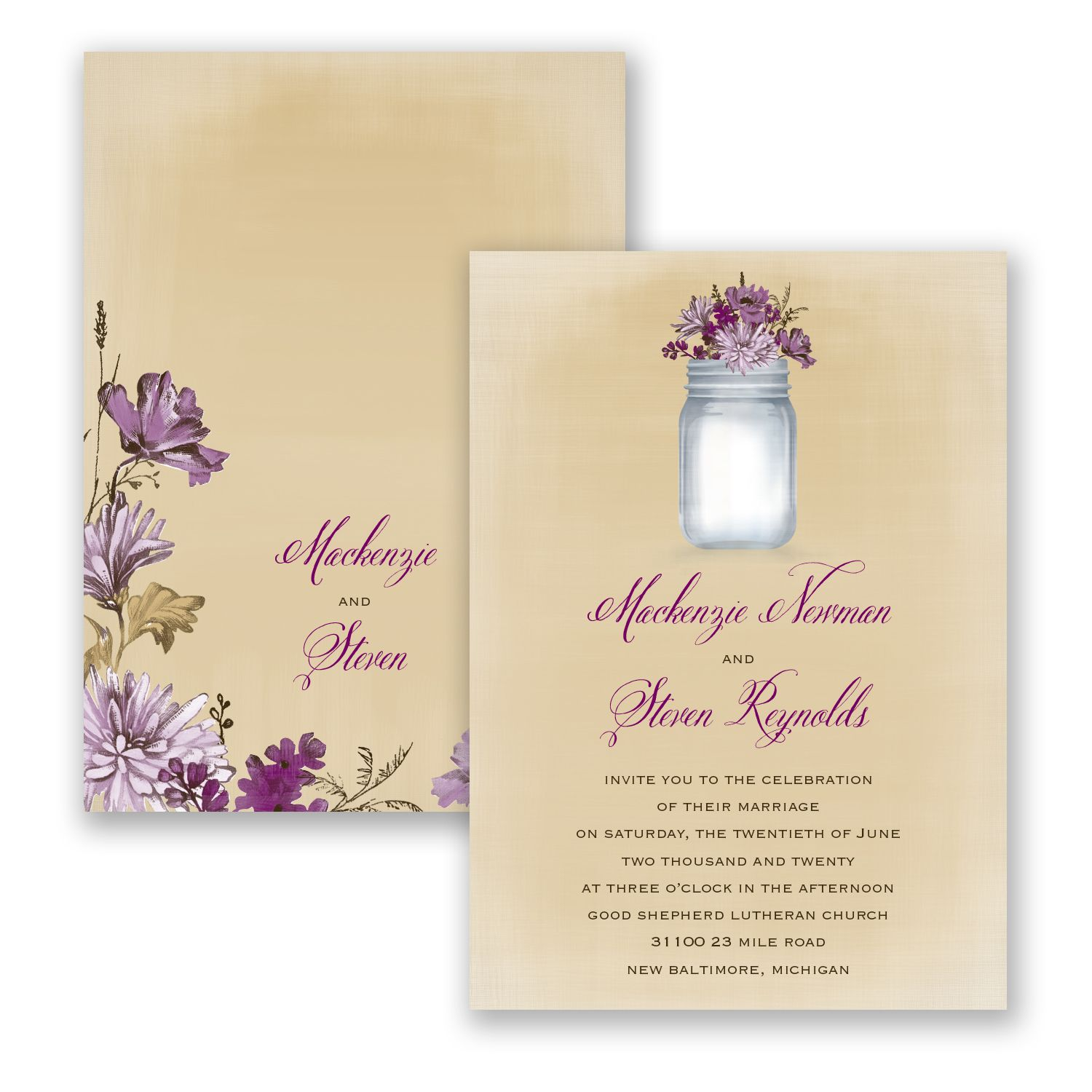 Rustic canning jar lapis invitation invitations by davids inspired by vintage and country flair this davids bridal wedding invitation features an antique canning jar filled with blooms to set the tone for your monicamarmolfo Gallery