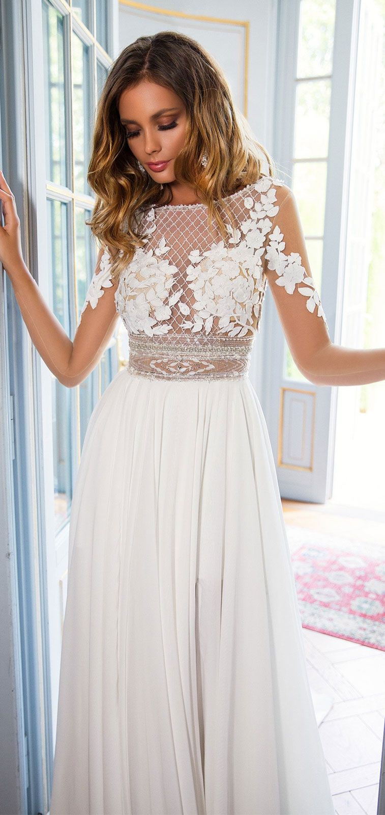 Illusion Long sleeves round neck heavy embellishment a line wedding dress #weddingdress #bridedress #weddinggown