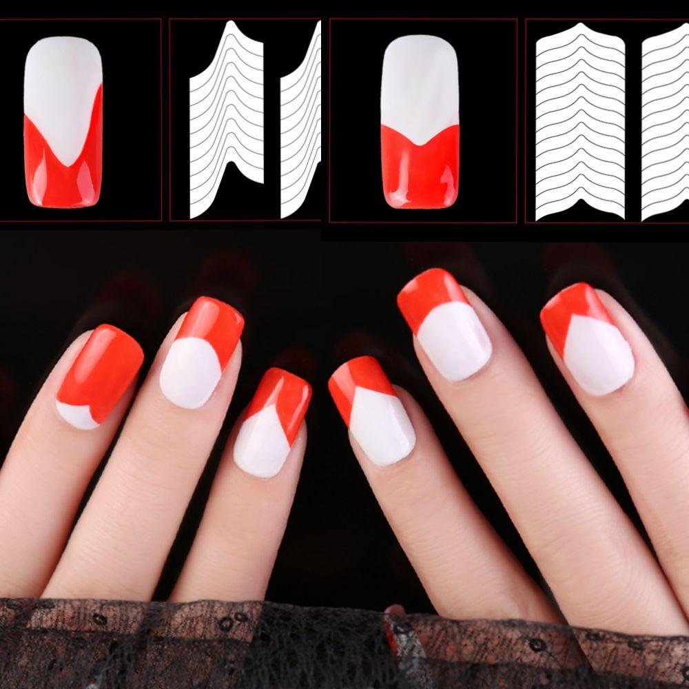 24 Style Nail Art Stripe Stencil Guide Sticker Set French Gel Polish ...