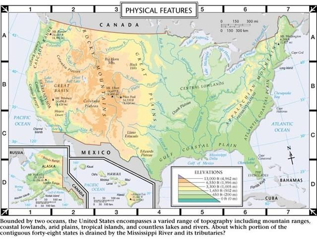 Us Physical Features Map Quiz - Us geography map quiz