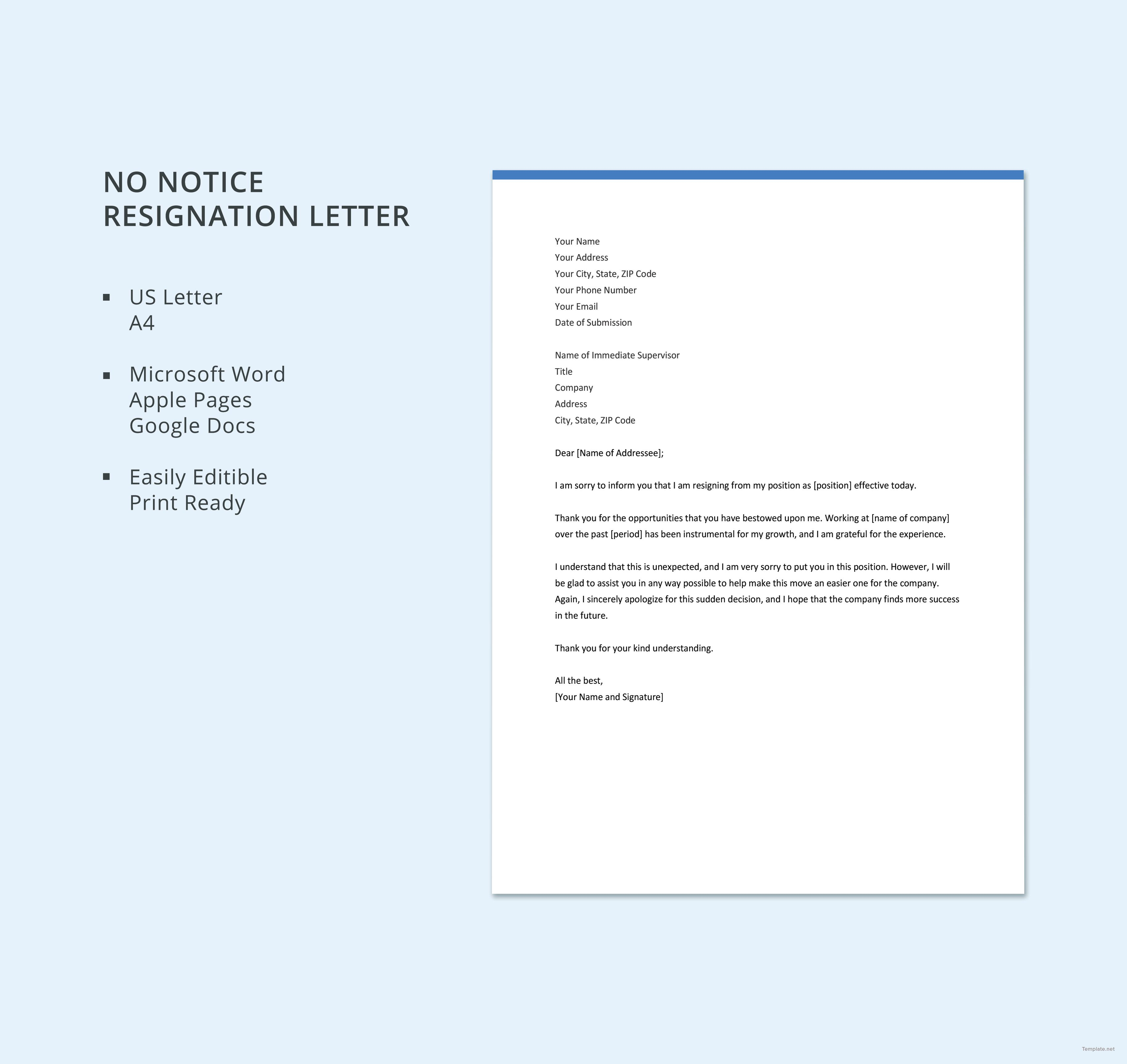 14+ Job Resignation Letter Templates Free Word & PDF