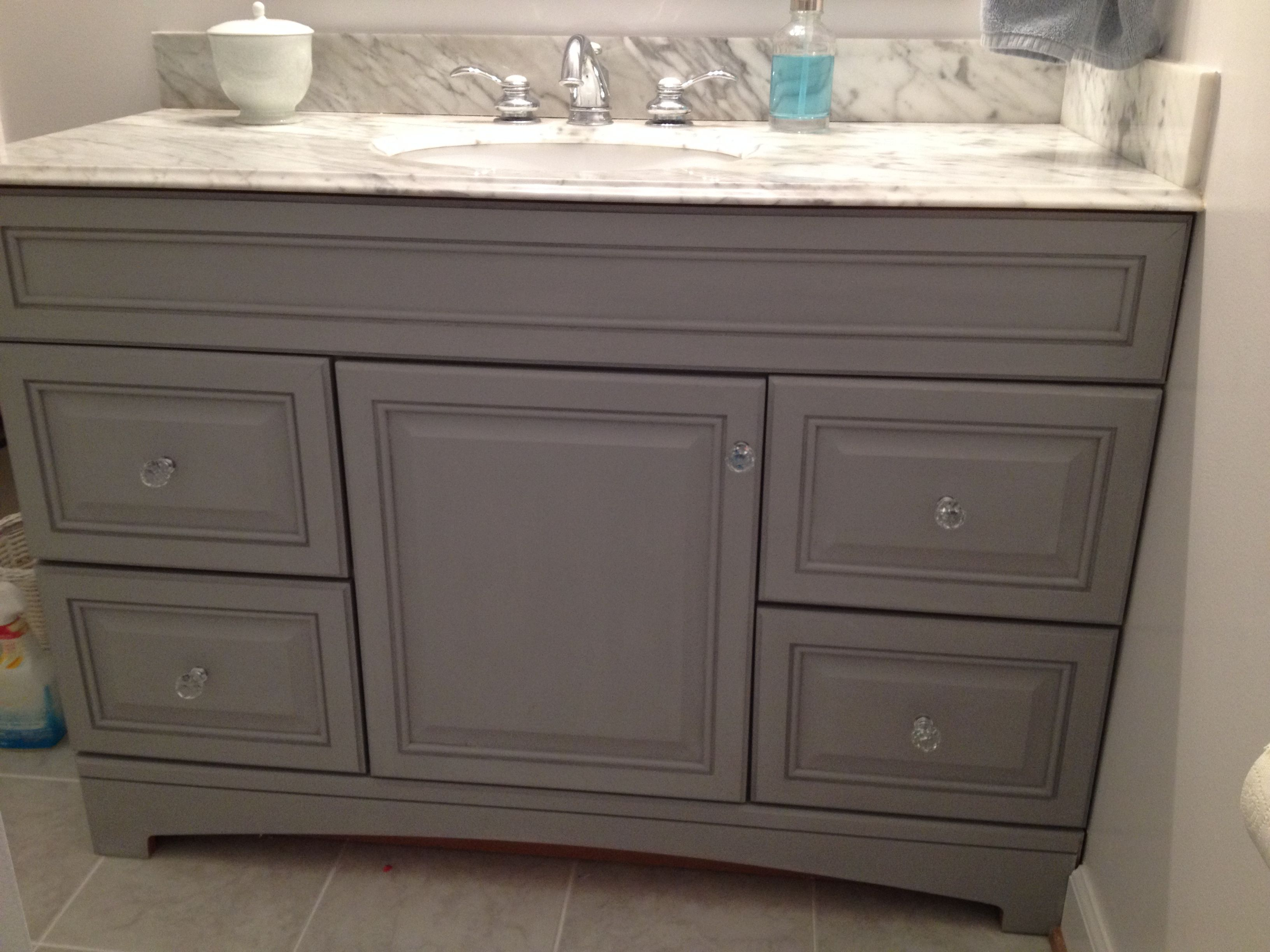 Annie sloan chalk paint bathroom cabinets - Updated Bathroom Vanity With Annie Sloan Paris Grey