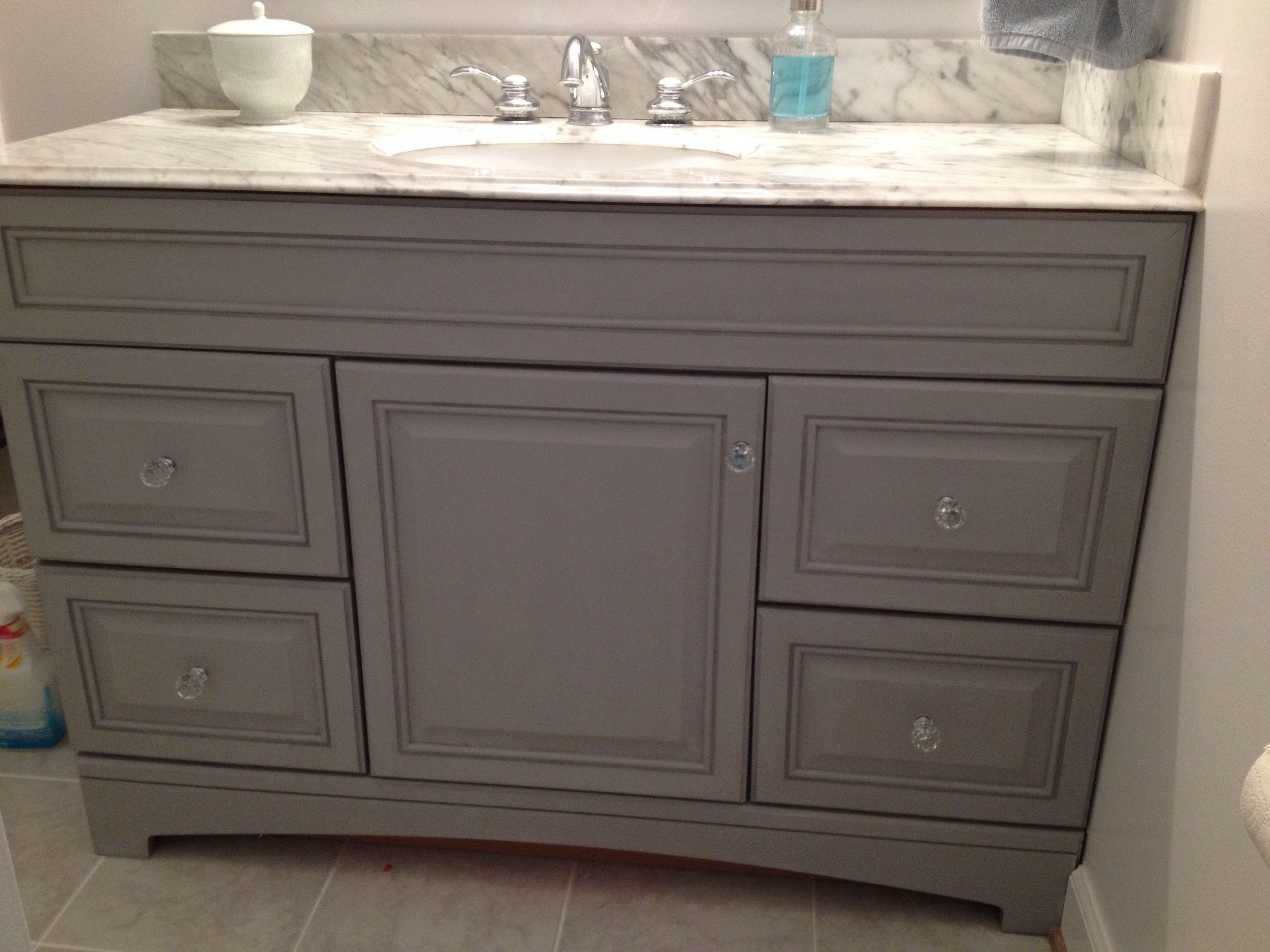 Updated Bathroom Vanity With Annie Sloan Paris Grey Painted Vanity Bathroom Painting Bathroom Cabinets Annie Sloan Chalk Paint Bathroom Vanity