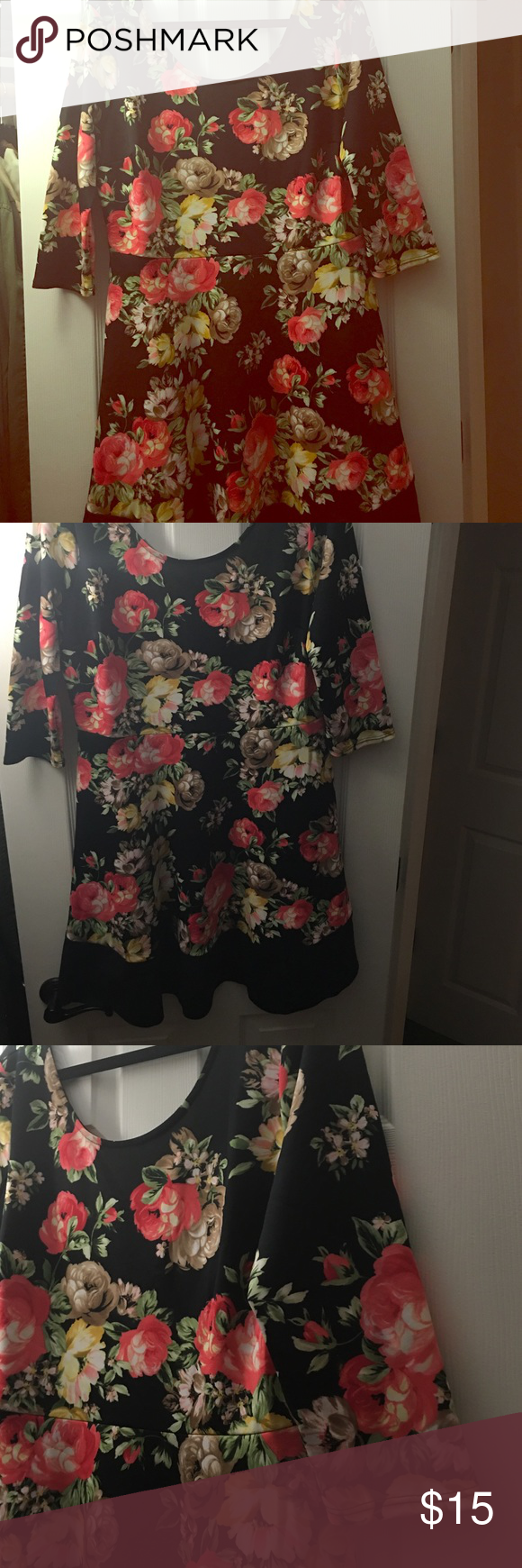 X floral black dress stretchy material floral and customer support