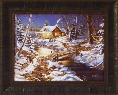 """Woodland Retreat"" Jim Hansel Log Cabin Winter Snow Buck 17x21 Framed Print   eBay"