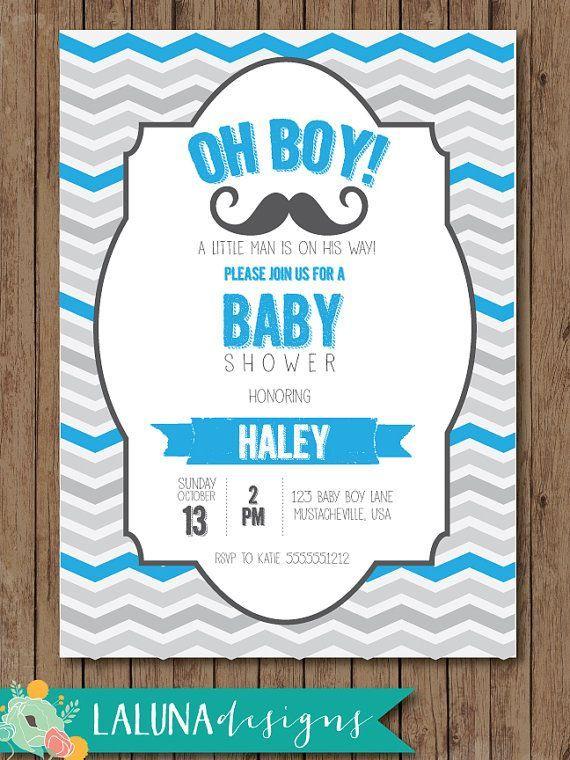 Mustache Baby Shower Invitation, Mustache Baby Shower, Little Man Baby  Shower Invite, Chevron Baby Shower Invite