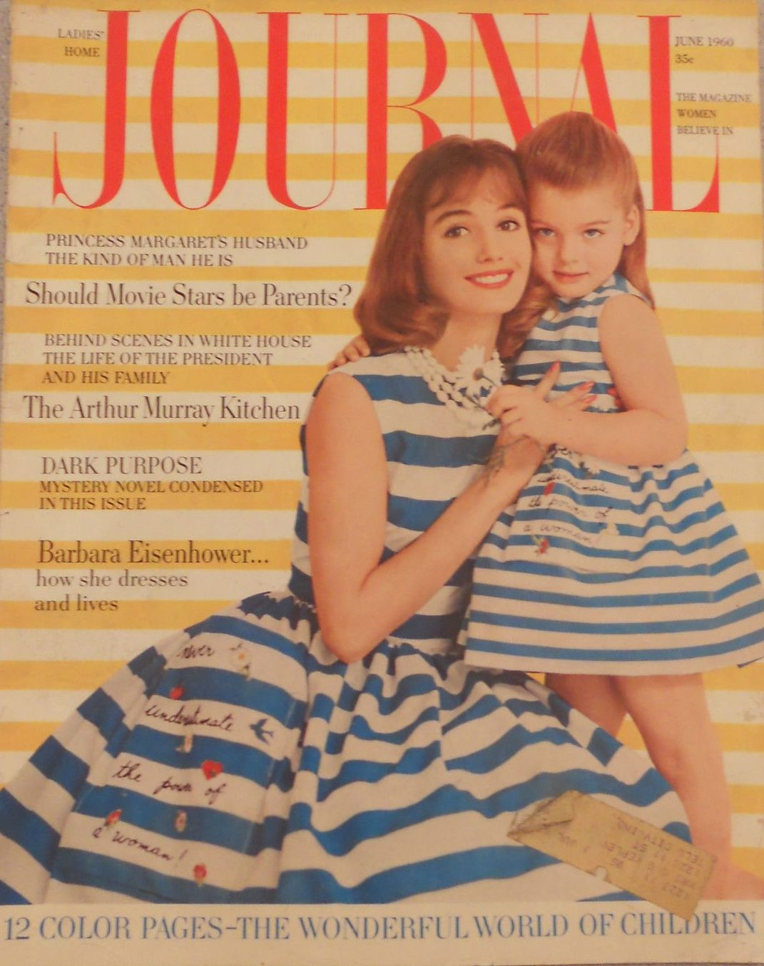 5c717fdd7db3 Cute striped dresses with the Ladies Home Journal motto on the skirt from  June 1960.