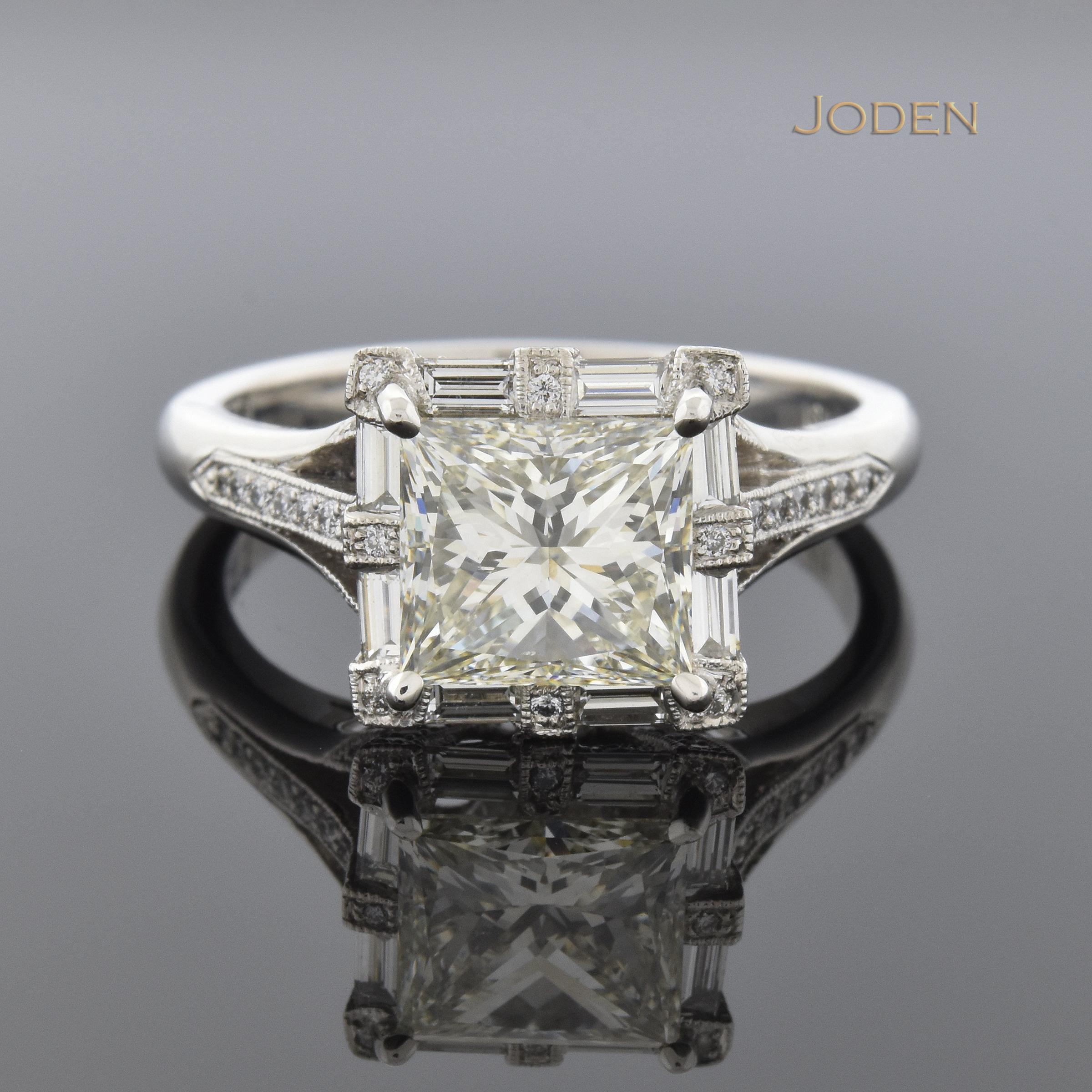 carat princess cut diamond halo engagement ring every angle of