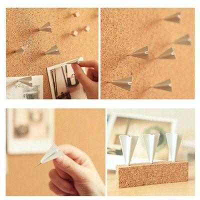 Mini Folded Paper Airplanes Styled Tacks Push Pins Drawing Thumbtacks ( 6pcs )