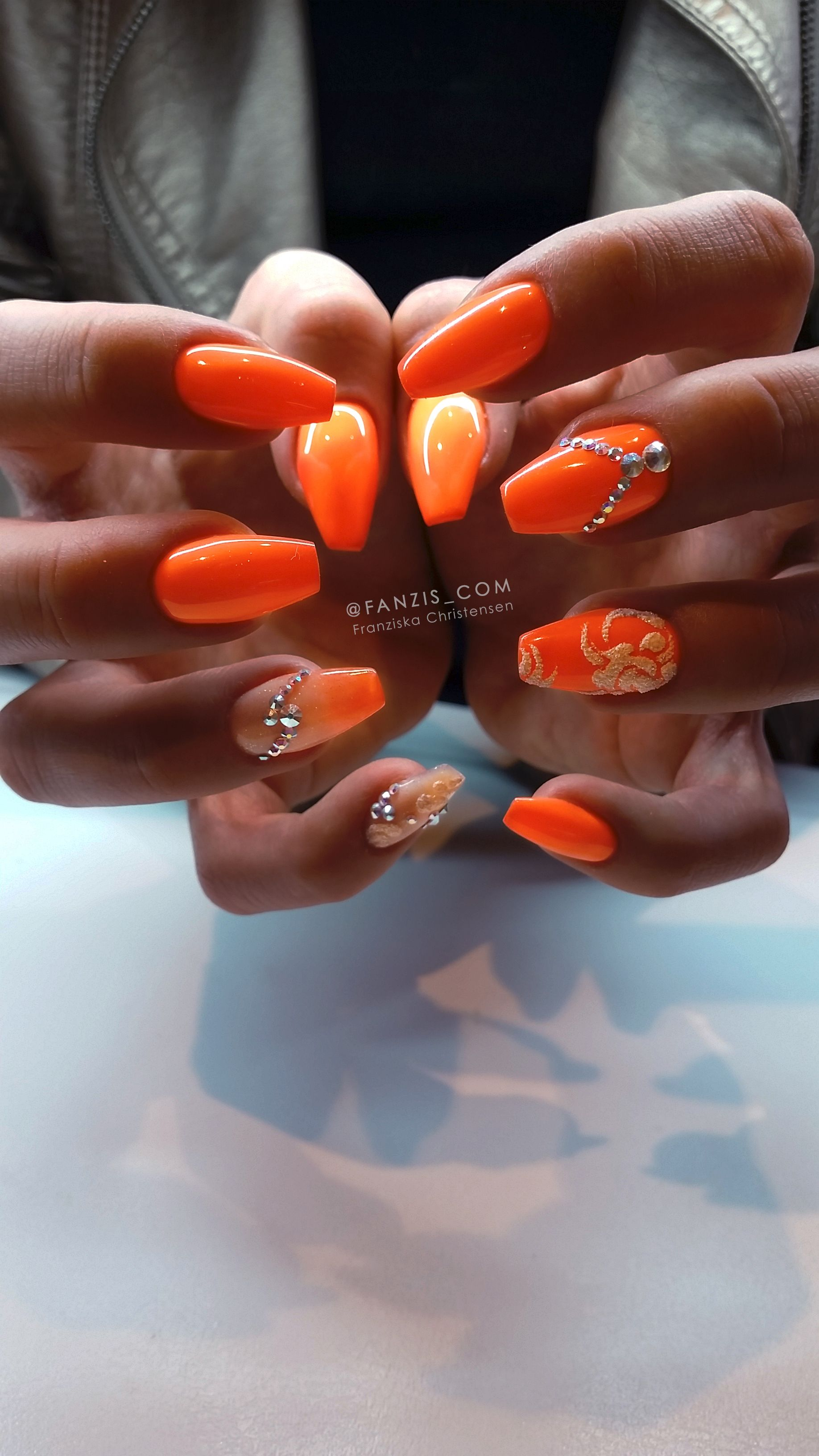 Neon Orange Nails In 2019 Orange Nails Neon Orange Nails Bling