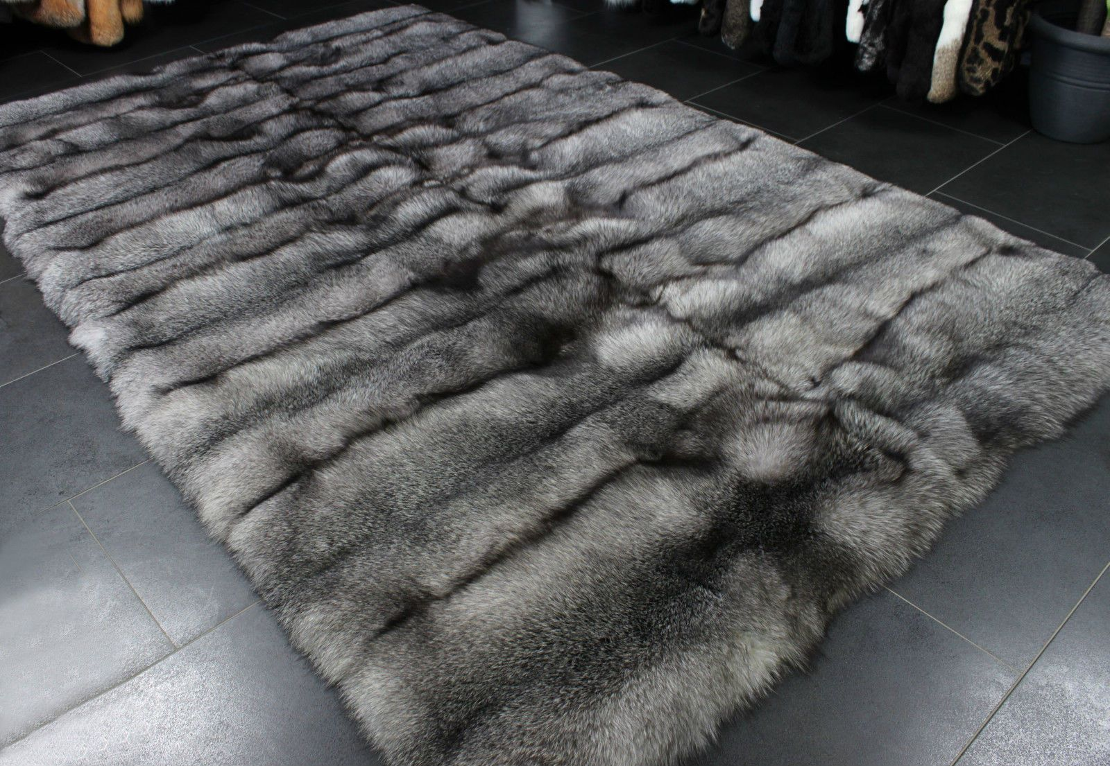 1501 Bluefrost Fox Carpet - SAGA Furs Genuine Fox Fur Rug Real Blue Fox Fur Rug | eBay