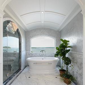 barrel bathroom ceiling, transitional, bathroom, space