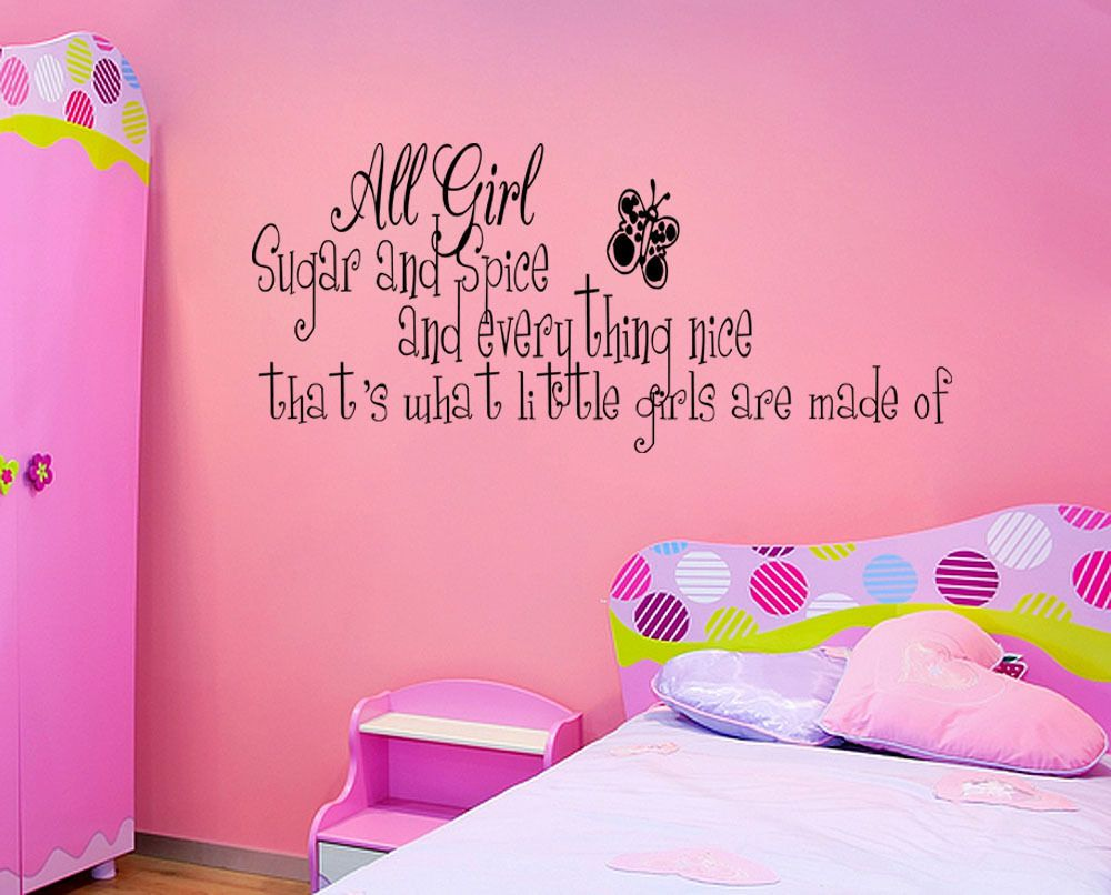 SUGAR AND SPICE LITTLE GIRLS ROOM Vinyl Wall quote Decal home Decor Wall Sticker