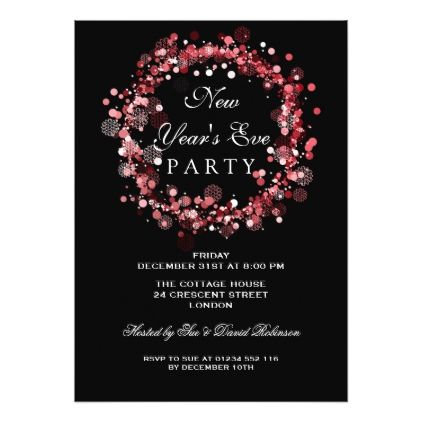 New Years Eve Party Festive Wreath Red Card