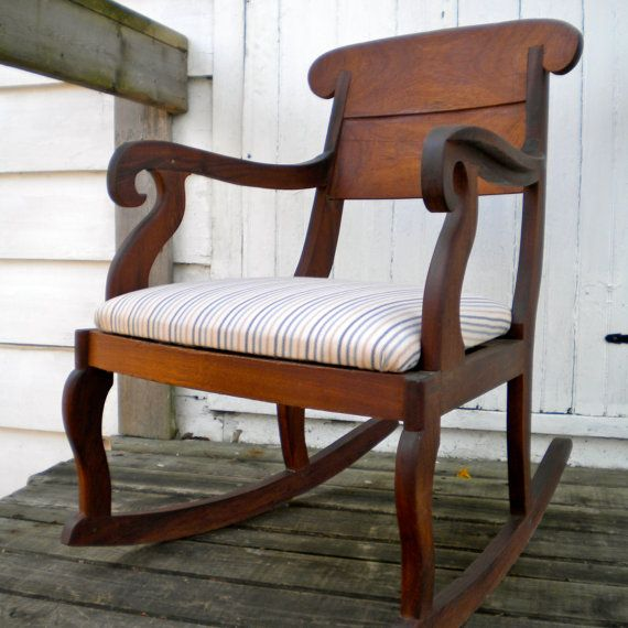 antique rocking chair with upholstered seat for the home. Black Bedroom Furniture Sets. Home Design Ideas