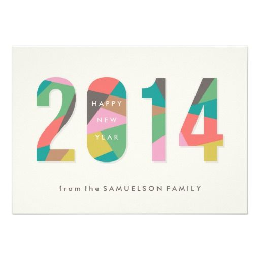 a colorful modern new years card with a bold typographic design