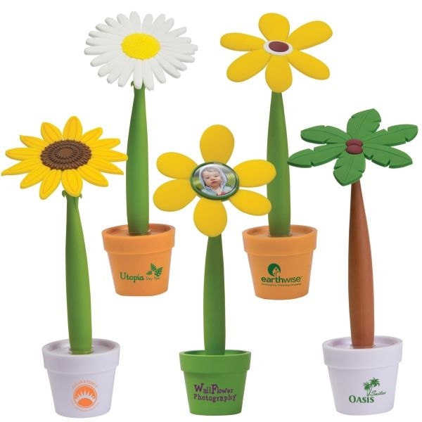 Flower pot pens that can be custom imprinted for your business, garden club or organization