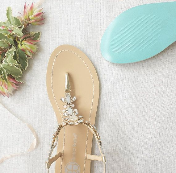 Something Blue Sole Wedding Shoes Sandals With Gold Jewel Crystal